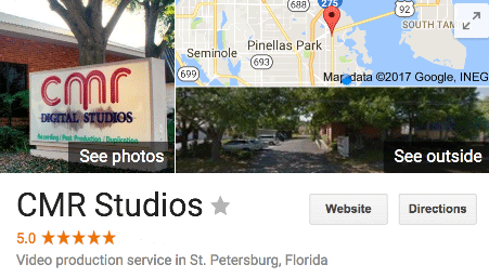 Tampa Video Production Company CMR Studios gets 5 star Google reviews