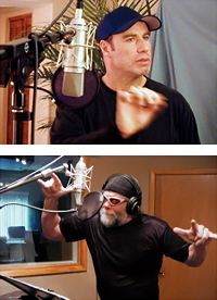 John Travolta & Randy Savage recording dialogue replacement in digital recording studios & edting suites at CMR Studios Tampa, St Petersburg, Florida